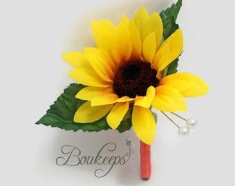 CHOOSE RIBBON COLOR - Sunflower Boutonniere, Sunflower Wedding, Yellow Boutonniere, Silk Sunflower, Autumn Wedding, Groom, Groomsmen
