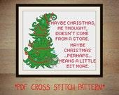 The Grinch Christmas cross stitch sampler PDF pattern