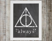 Harry Potter Deathly Hallows, Three Stars Pop Culture Print - 'always'