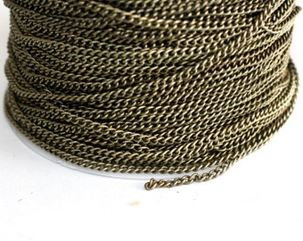 42ft Brass Chain Finished Chain- Cable Chain- Twist Chain 3x2mm-unsoldered