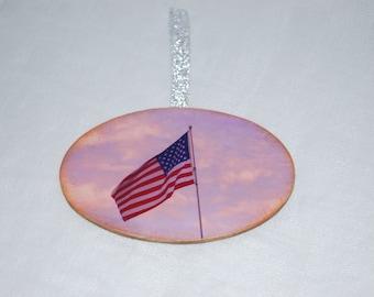 wood photo American Flag Christmas ornament