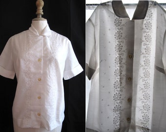 Vintage 1950's White shirt short sleeves, embroidery