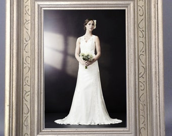 Beautiful Silver and Ivory 5x7 Wedding Frame