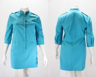 LG - XL Vintage Dress - Turquoise Mini Dress