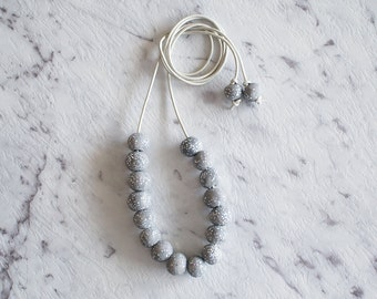 Handmade Polymer Clay Round Bead Necklace - Luxe Collection Moonstone