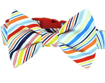 Red Blue Yellow Stripe Bow Tie Dog Collar; Stripes Dog Bow Tie and Collar: Play Ball Stripe