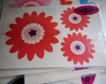 Vintage 1970's Meyercord Decals Large Daisy Flower Power Craft Supply Home Decor
