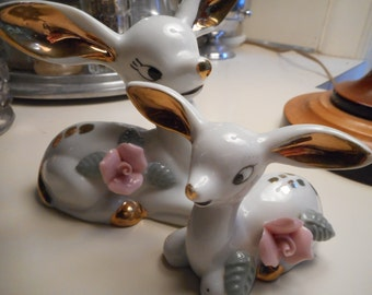 Vintage 50's, 60's Cute White and Gold Deers with Pink Rose Porcelain Figurines
