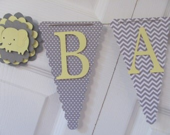 Yellow and Grey Baby Shower Banner, Baby Shower Decorations, Yellow and Grey Banner, Baby Shower Bunting