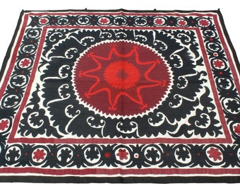 Suzani Vintage Suzani Old Embroidery Suzani Wall Hanging Uzbek Suzani Table Cover Ethnic Suzani 4.46' x 4.86' FAST with ups - 08967