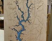 Lake Wylie South Carolina wood laser engraved lake map wall hanging