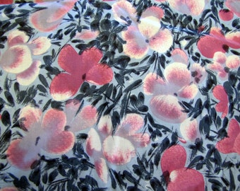 1950's Floral Fabric Piece, 1950's, 1960's, Pink, Blue, Floral, Flower, Pansies, Impatiens, Cotton, Quilter Weight,