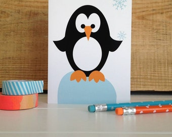 Christmas Penguin Card-Cute Xmas Card-Kids Christmas Card- Seasonal Greetings Card- Penguin Xmas Card- Merry Christmas card-Quirky Xmas Card
