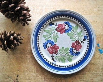French Majolica Pottery Plate, Hand Painted Plate, Vintage Pottery, Rustic Plate, Digoin Sarreguemine, French Country Plate, Farmhouse Decor