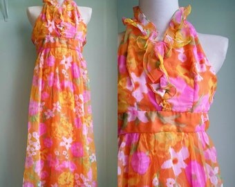 1960's Tropical Maxi Dress - Halter Top Floral Maxi - XS/S