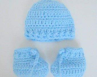 Preemie Pastel Blue  Baby  Booties And Hat Set Very Small Newborn  Infant Boy Or Girl Cap And Slippers