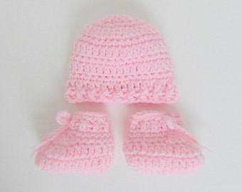 Micro Preemie Pastel Pink Baby  Booties And Hat Set Very Small Newborn  Infant Boy Or Girl Cap And Slippers