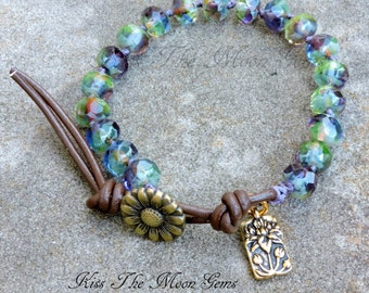 Hand Knotted Bracelet - Czech Glass - Multi-colored blue/purple/green/yellow
