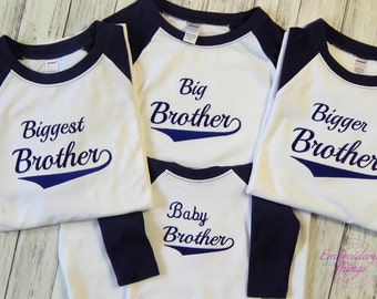 Big Brother Jersey-Big Brother Shirt, Middle Brother shirt-Little Brother shirt- Biggest Brother shirt-Custom Baseball jersey-Baseball