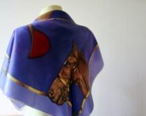 Vintage Equestrian Scarf/Rare Equestrian Scarf/Statement Scarf/Square Scarf/Violet Equestrian Scarf/Horse Head Scarf/Bold Scarf/1960s Scarf