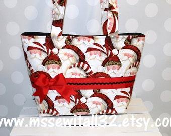 Christmas Santa Faces / Leopard Print Purse / Tote / Bag