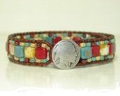 Southwestern Mixed Tile Leather Wrap Bracelet,  Red & Blue Picasso, Single Wrap, Tribal Wrap, Indian Head Button