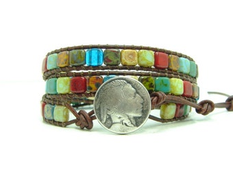 Tile Beaded  Leather Wrap Bracelet, Triple Wrap Bracelet, Multicolor Tile, Boho, Indian Head, Southwestern