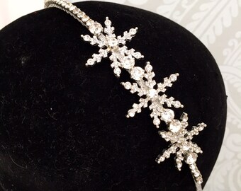 snowflake headpiece wedding headdress diamante tiara crystal headband  side tiara