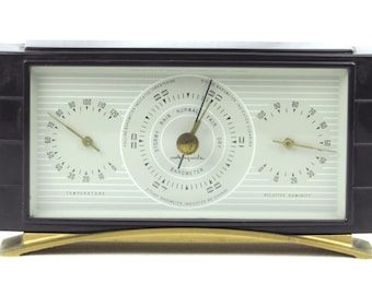 Airguide Barometer - Thermometer - Humidity - Measuring Device - Handsome Danish Modern Instrument - Retro Home Decor Weather Station
