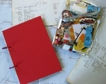Junk Journal, Art Journal, Travel Journal-comes with a bag of 100 bits and bobs for embellishment