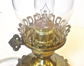 """Vintage Hurricane Lamp, Electrical, Mid Century, 13"""" Candlelight Accent Lamp with Glass Chimney"""