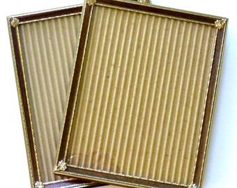 Vintage 8x10 Frames Set of 2 Gold Tone with Faux Wood Grain Accent, Mid Century Unisex