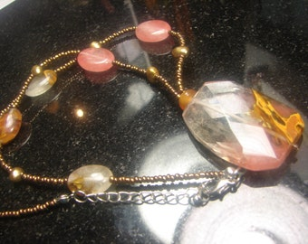 "Facated large Quartz drop necklace 34 grms. 19"" extends to 20"" -drop30X40mm 1494"