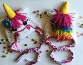 Unicorn Crochet Earflap Hat PROP Photography - Girl Sizes 12 months to Preteen by AngelsChest
