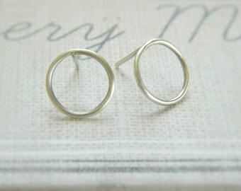 Open Circle Stud Silver Earrings, Dainty Sterling Silver Stud Earrings, Minimal Earrings