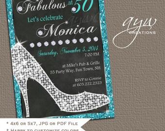 50th Birthday Invitations - Heels Diamonds - Birthday Invitation Cards - Party Invites - Printable Invitations - Chalkboard Invites Women