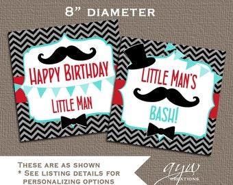 Centerpiece Little Man Mustache Birthday Black Red Turquoise - Download Little Man Mustache Theme Centerpiece - LMM1