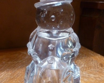 Snowman Lead Crystal Votive Candle Holder made in USA