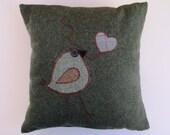 Forest Green Appliqued Bird Wool Pillow