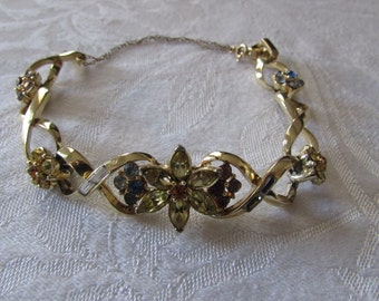 Vintage Coro Bracelet 1960's Colored Rhinestones Goldtone/safety clasp chain