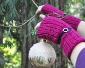 Fingerless Gloves Mitts DIY knitting pattern Mulberry and Black Velvet- PDF instant pattern download