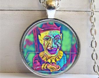 Clown Necklace, Clown Pendant, Clown Art, Clown Jewelry