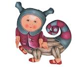 magic caterpillar, painted folk art doll - soft sculpture