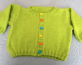Hand knit baby boy or girl's lime green cardigan with little fish buttons