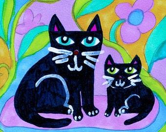 Black Cat Print, Two Cat Art, Cat Decor, Cat Art, Kid's Room Decor, Art For Girls, Black And Lavender, Two Black Cats by Paula DiLeo_616