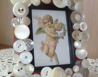 Picture Frame Decorated with Vintage Buttons