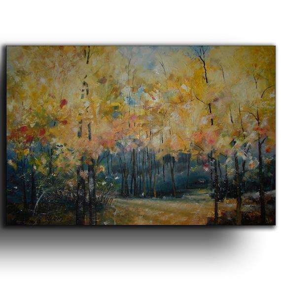 Oil painting - canvas PRINT on wooden frame - Oakville Park -  Canvas Art by Tatjana Ruzin Landscape Painting turquoise blue, yellow