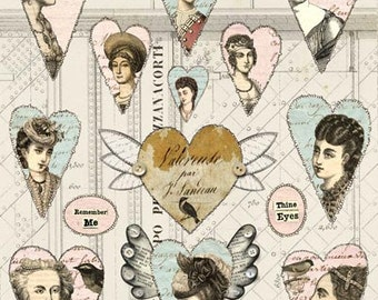 12+ VINTAGE HEARTS - Pastel Colors, Wings, Beautiful Women - Instant Printable Digital Collage Sheet