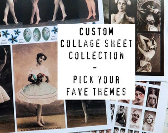 CUSTOM COLLAGE Sheet COLLECTION - 10 sheets - Pick Your Favorite Themes and Colors!