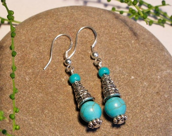 Earrings Turquoise Howlite Free Worldwide Shipping